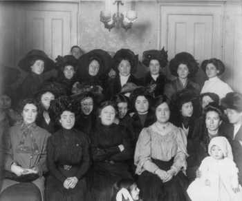 Group of mainly female shirtwaist workers on s...