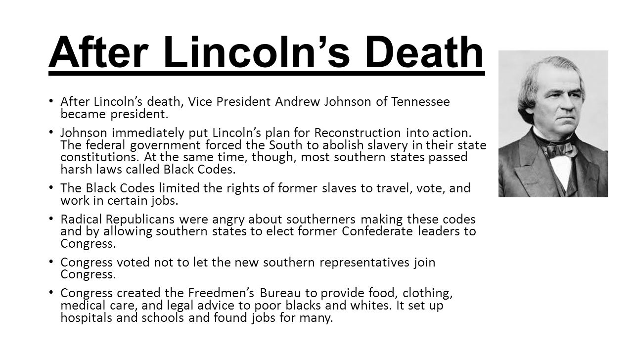 Image result for Lincoln's death and reconstruction