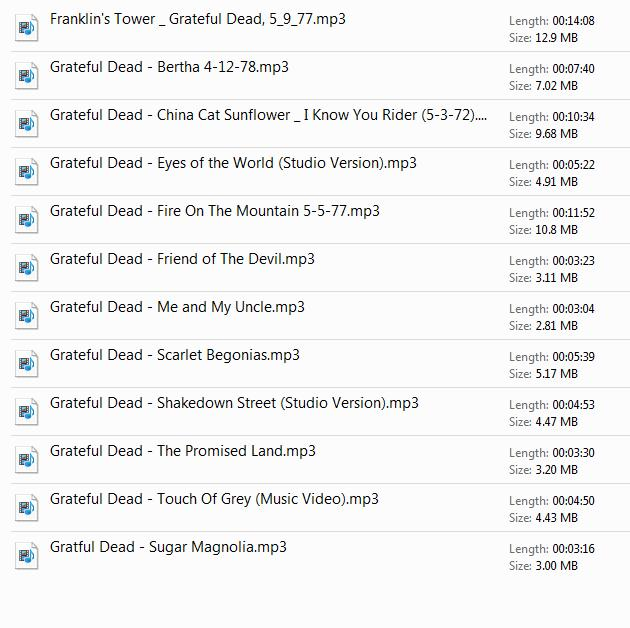 Grateful Dead Playlist
