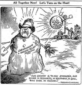hoover-snowman-unemployment-turn-up-the-heat-appleton-post-crescent-4-dec-1930