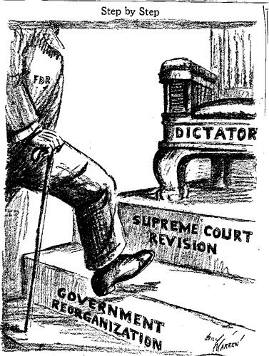This image shows how some saw the increase in SOCIALISM in America with FDR's NEW DEAL.  When the government takes steps to control the economy and revise the court's interpretation of the law the next step can be dictatorship.  Fortunately America's checks and balances kept our socialism democratic.