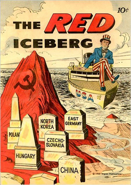 In 1960 this propaganda was created before we entered into Vietnam combat. This propaganda  shows how many countries had fallen to communism in the 1950s .  America doesn't  want to end up like the other countries and sink the American ship on the iceberg of Communism. President Harry Truman proposed a doctrine of containment  in the early 1950s and President Eisenhower adopted a policy of massive retaliation against the spread of communism .