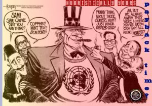 This Propaganda shows how uncle Sam joined the the united Nations in the end of world war 2 in 1947. the image shows how big and strong America has been and how the united nations had been supported by united states along.