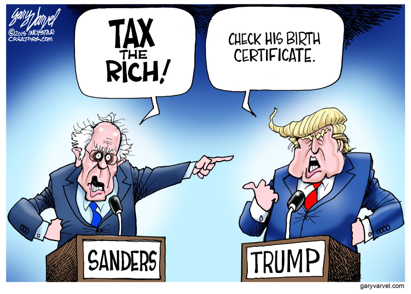 Sanders+and+Trump+humorously+debate+their+most+prominently+campaigned+arguments%3B+as+portrayed+by+political+cartoon.