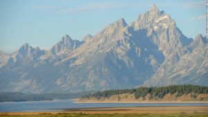 The Tetons provide a picturesque setting for the annual Jackson Hole economic symposium, sponsored by the Kansas City Federal Reserve Bank at the Jackson Lake Lodge in Moran, Wyoming, U.S., on Friday, Aug. 23, 2013. Photographer: Price Chambers/Bloomberg *** Local Caption ***