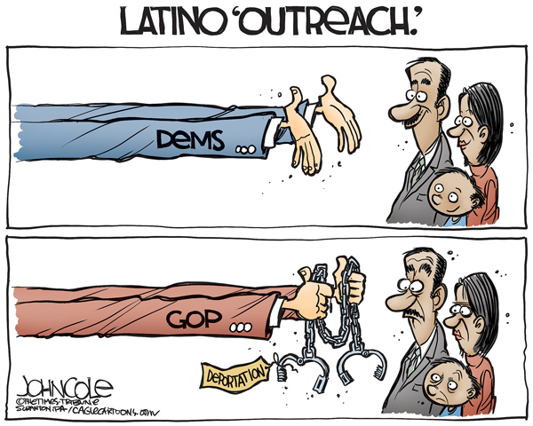 This cartoon shows the big differences between the Republicans and the Democrats in their statements about Latino immigrants.