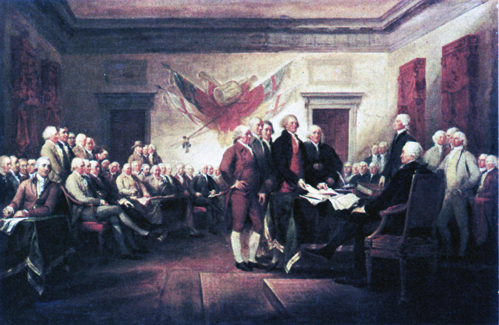 The signing of the Declaration of Independence which is based on the social contract theory  of John Locke; July 4th 1776 Philadelphia PA
