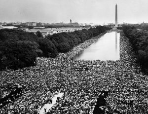 "Hundreds of thousands of marchers gather around the reflecting pool in front of the Washington monument and listen as the Rev. Martin Luther King Jr. delivers his ""I Have A Dream"" speech from the steps of the Lincoln Memorial during the March on Washington for Jobs and Freedom in this August 28, 1963 file photo shot by U.S. Information Agency photographer Rowland Scherman and provided to Reuters by the U.S. National Archives in Washington on August 21, 2013. In the coming week, Washington will play host to an array of events marking the 50th anniversary of the march and speech. REUTERS/Rowland Scherman/U.S. Information Agency/U.S. National Archives (UNITED STATES - Tags: POLITICS ANNIVERSARY) ATTENTION EDITORS - THIS IMAGE WAS PROVIDED BY A THIRD PARTY. FOR EDITORIAL USE ONLY. NOT FOR SALE FOR MARKETING OR ADVERTISING CAMPAIGNS.THIS PICTURE IS DISTRIBUTED EXACTLY AS RECEIVED BY REUTERS, AS A SERVICE TO CLIENTS"