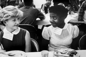 Two students at an integrated lunch event in Virginia in 1958. In some cases it took over 10 years for schools to fully integrate.