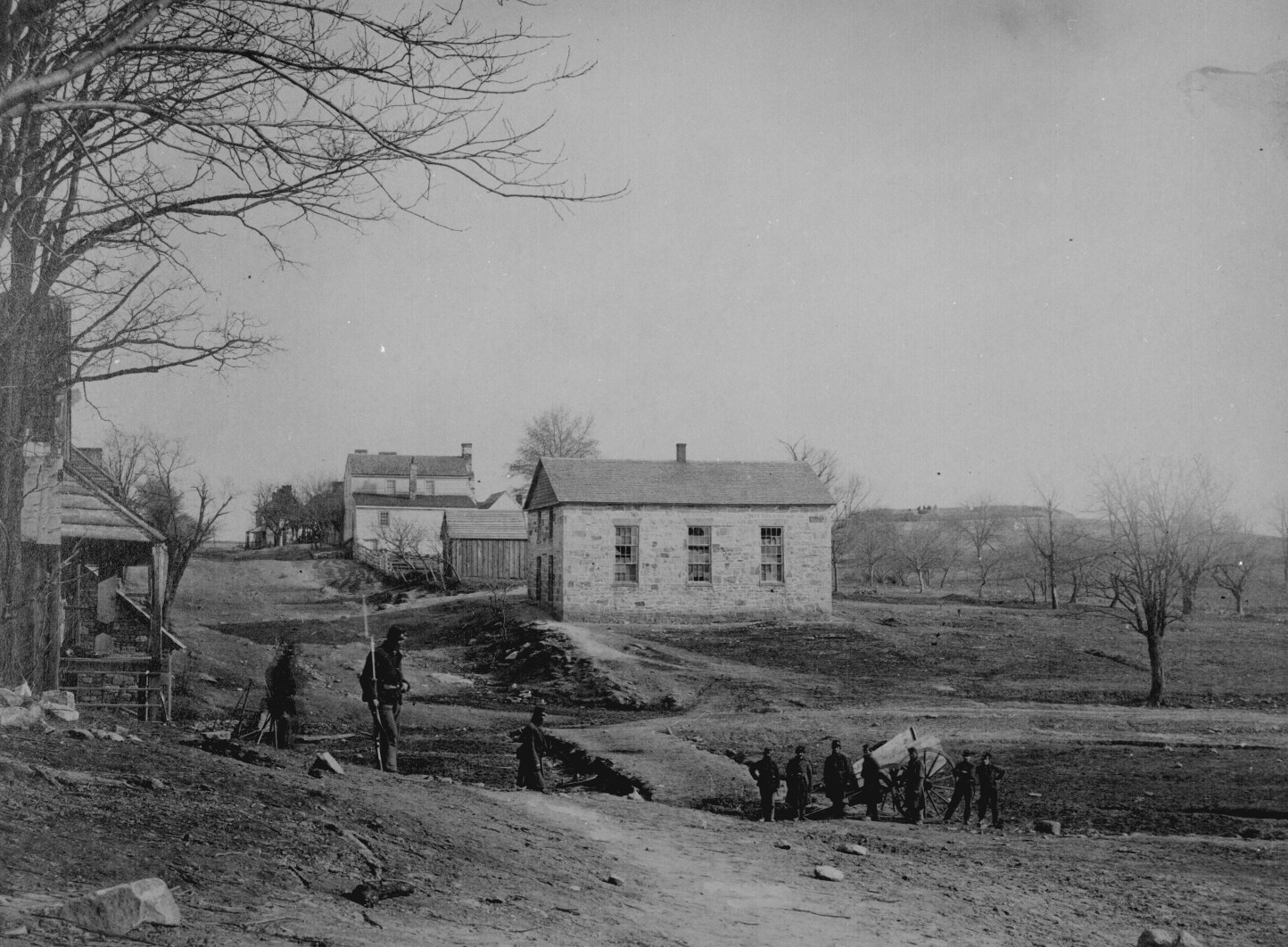 This view of Centreville during the Civil War includes Braddock road and what is now the Centreville Historic district.