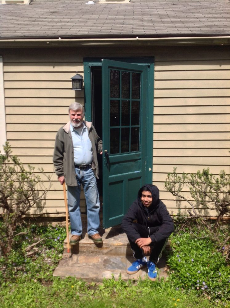 Prof Mccord stands at the original from door to the front porch of the 18th century Jamesson House.  The family enclosed this front porch to convert it to bedrooms for the children in the 19th century.