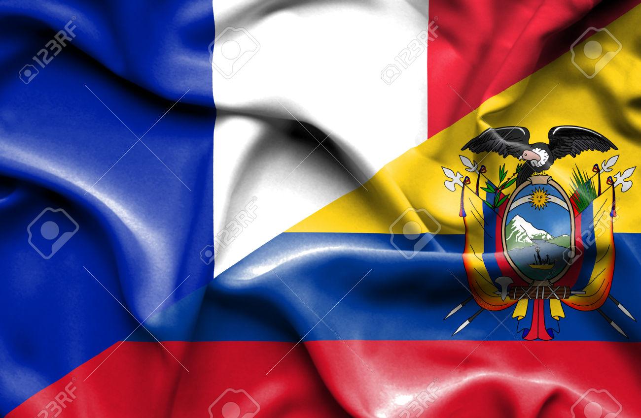 Waving flag of Ecuador and France