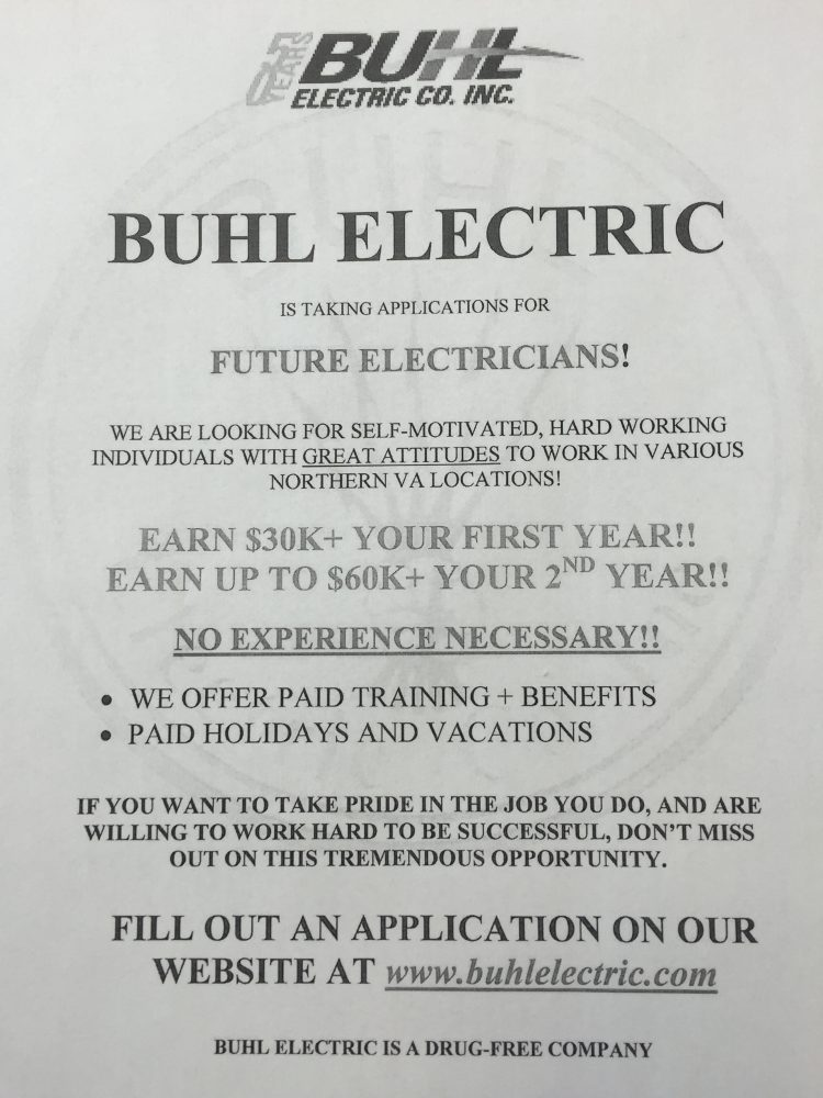 Buhl Electric Hiring entry level electricians!