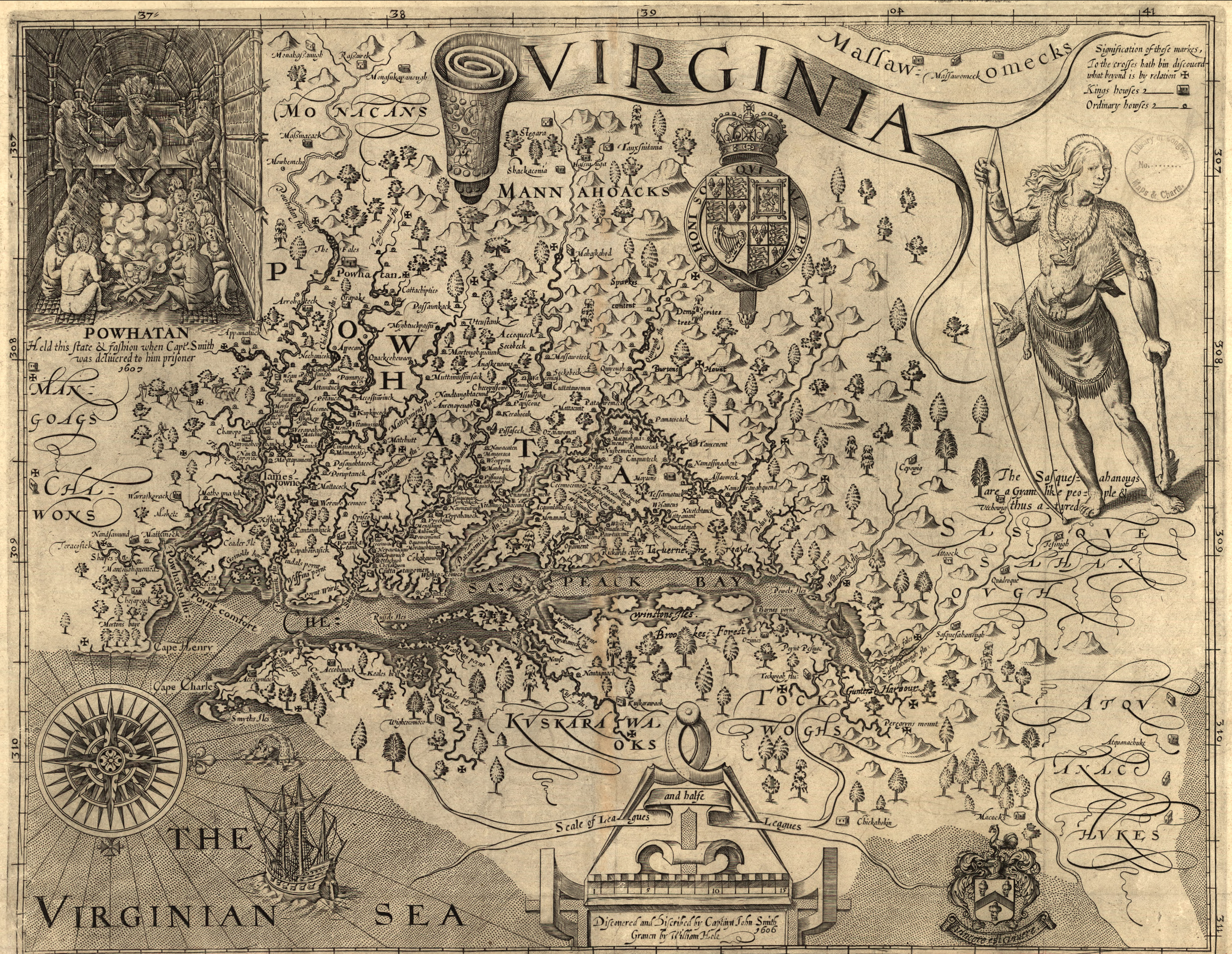 This is one of the first European maps of Virginia made by Captain John Smith who settled in Jamestown in 1607.