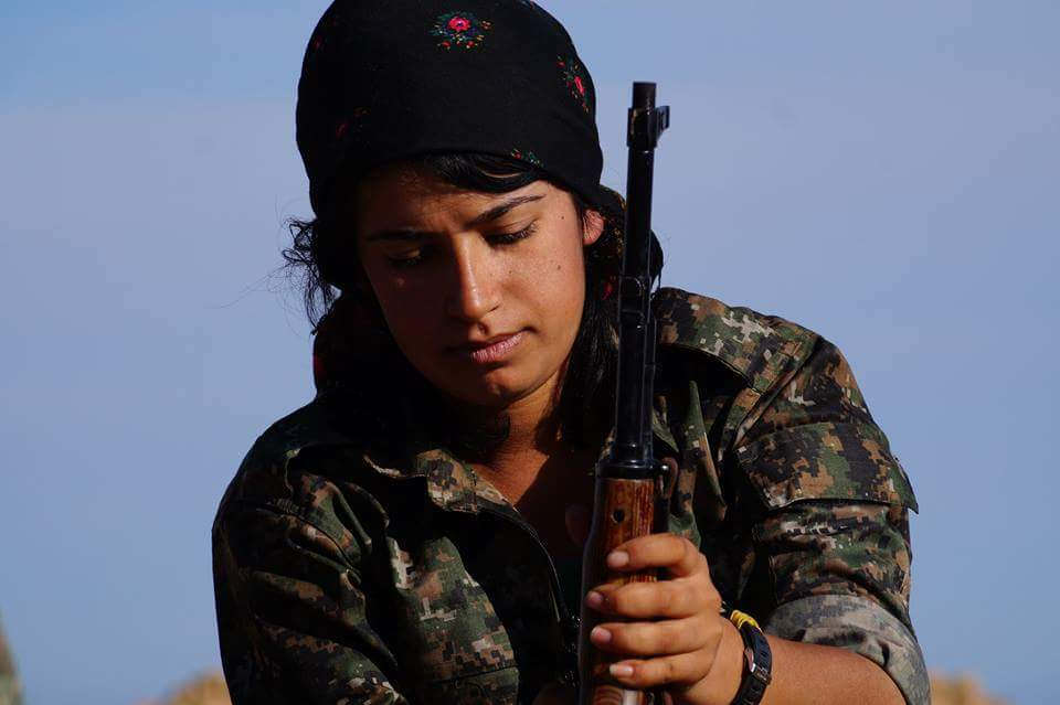 Kurdish women fight side by side with the men. They are often stronger than the men they fight with. -by Kurdishstruggle Kurdish YPG Fighter
