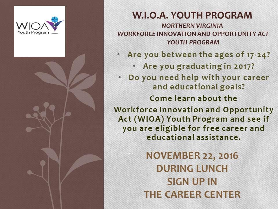 WIOA Information Session Nov 22nd