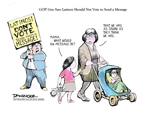 Latino Voters, GOP, Send a Message, political cartoon