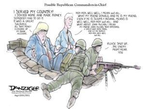 Trump, Pence, commanders in chief, political cartoon