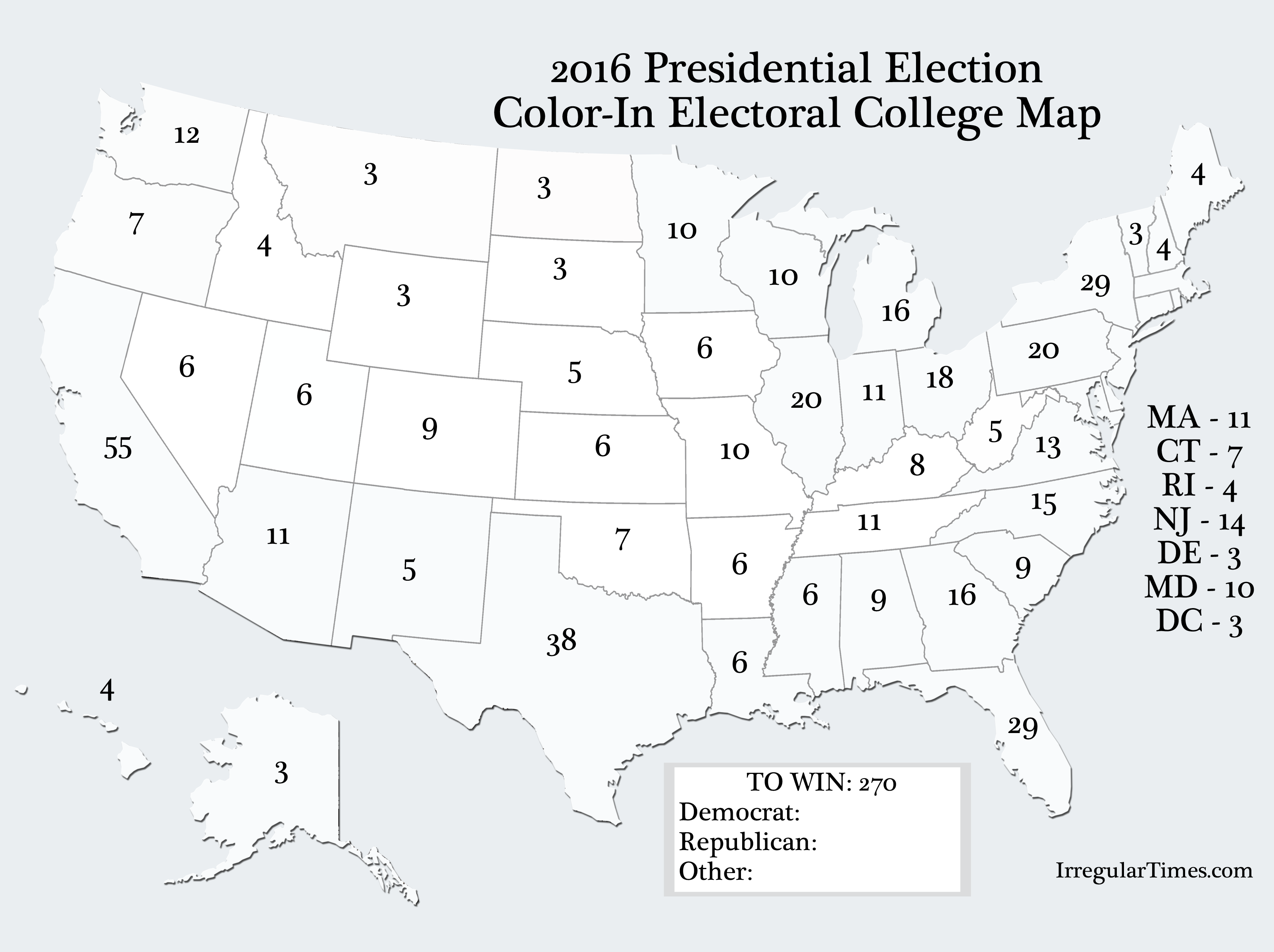 Rare image with printable electoral map