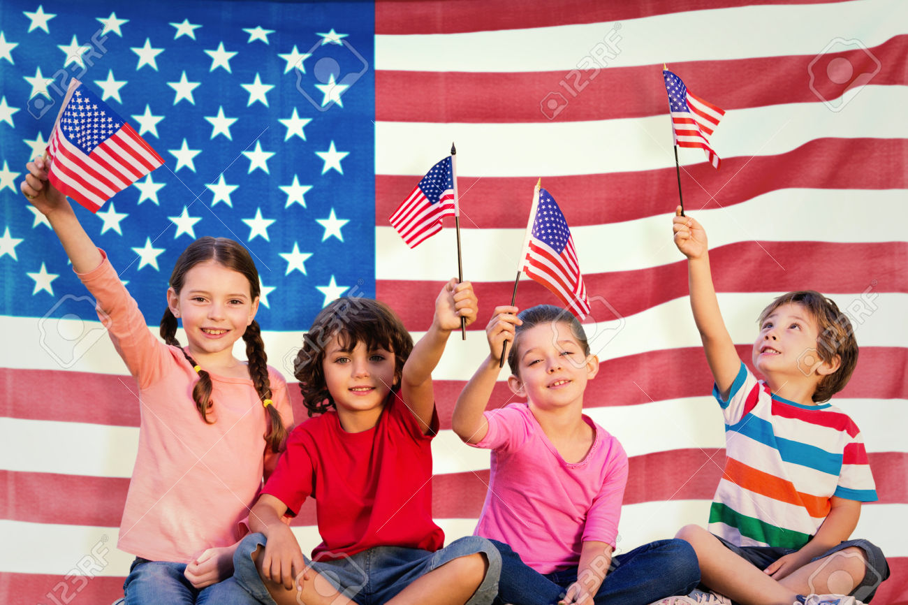 Children+with+american+flags+against+rippled+us+flag