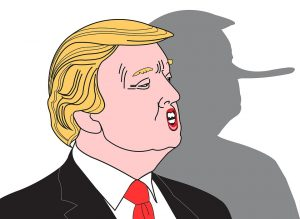 Cartoon of Trump as Pinocchio with a long nose.