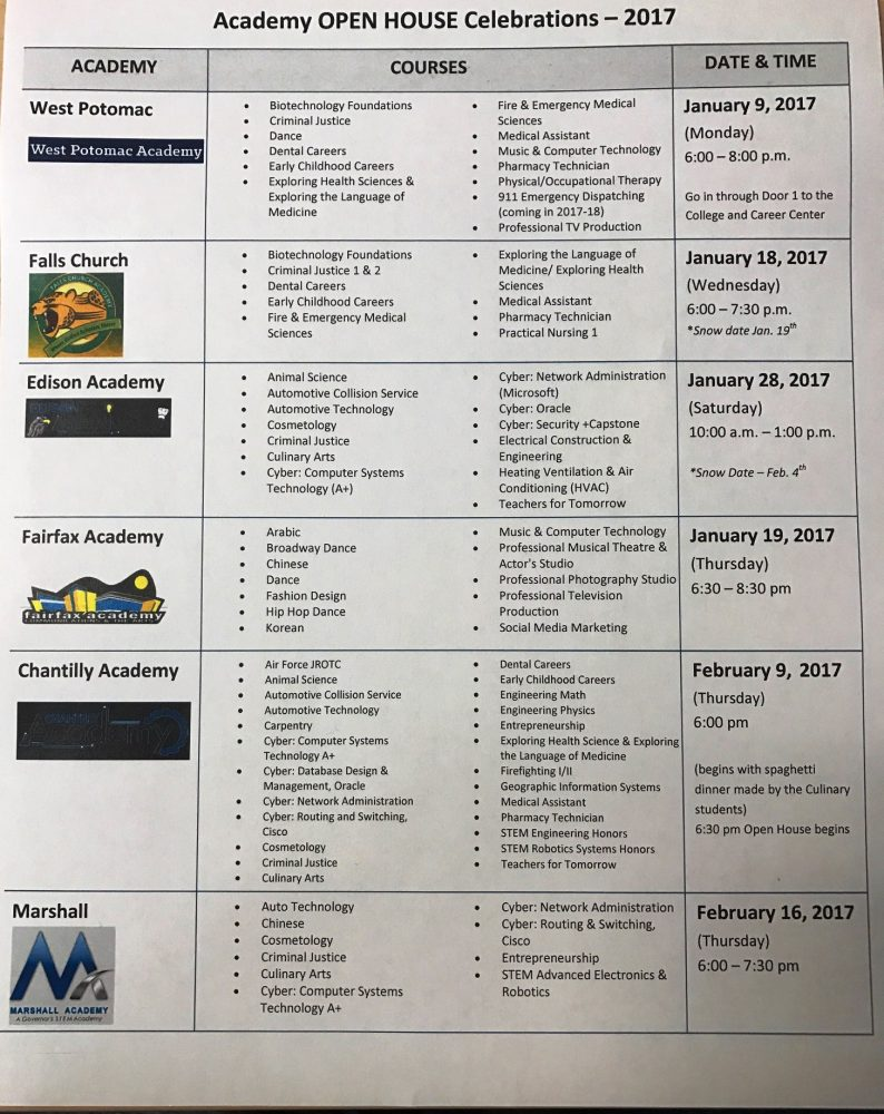 FCPS Academy Open House Programs Coming in January!