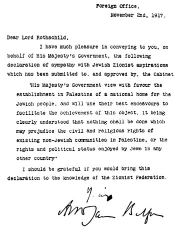 English: Balfour declaration