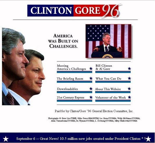 Image result for Clintons first Presidential website