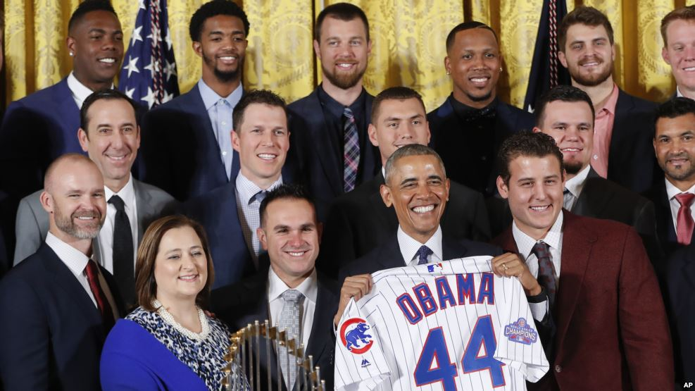 Image result for President Barack Obama celebrated the World Series champion Chicago Cubs