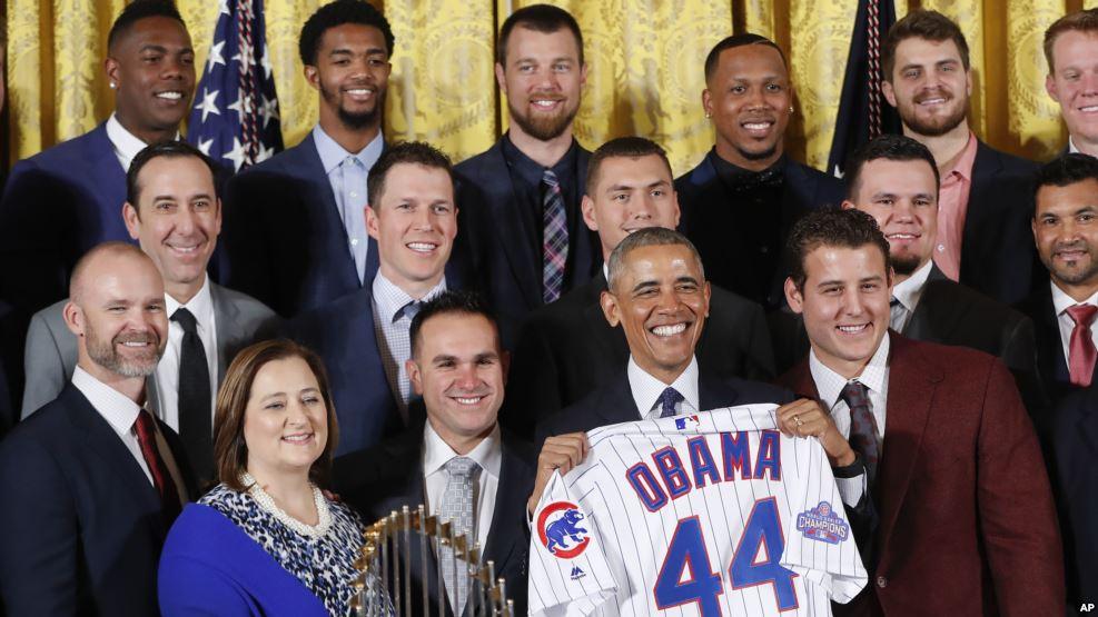 Image result for President Barack Obama celebrated the World Series champion Chicago Cubs