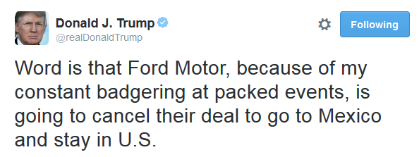 Image result for Trump tweets Mexico plant construction stopped