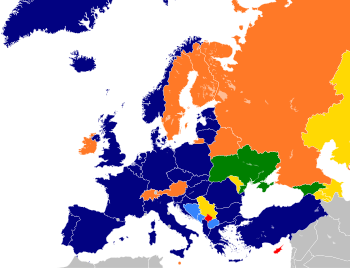 English: Map to show current affiliations of E...