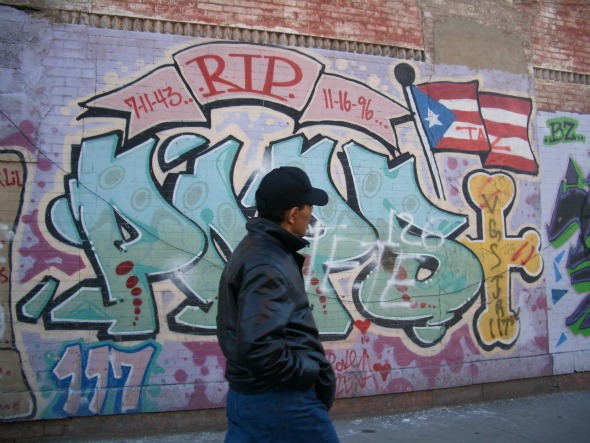 This is an image of R.I.P murals in the Spanish Harlem. Chino was a great painter and once painted dozens of R.I.P.s for money. Even at school all the teachers would like them. After Bodega's death, Sapo suggested Chino to do one last R.I.P for Bodega.    http://bodegadreams01.blogspot.com/2013_03_01_archive.html