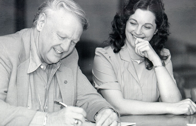 Poet and novelist James Dickey autographs a book, 1984. - https://www.flickr.com/photos/etsuarchives/