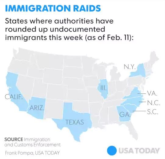 Image result for Map of Feb 2017 ICE raids
