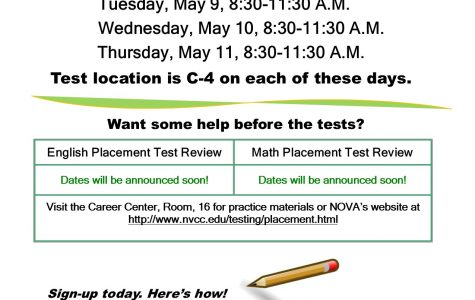 Take the NOVA Placement Tests May 9-11 at MTV!