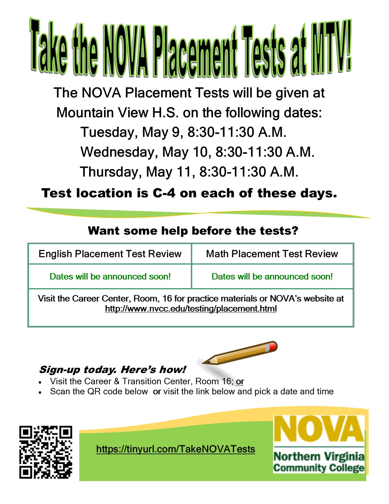 Mountain View Mirror : Take the NOVA Placement Tests May 9-11 at MTV!