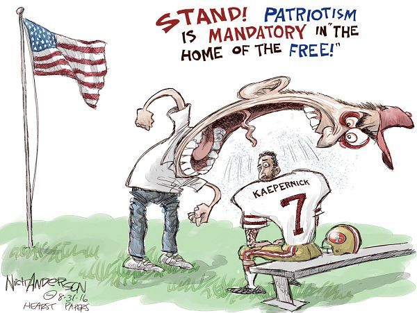 Image result for NFL free speech political cartoon