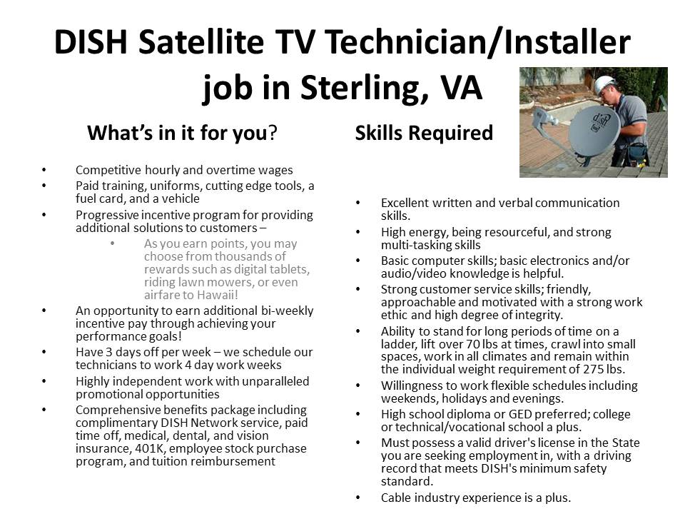 DISH Satellite TV Technician/Installer job in Sterling, VA
