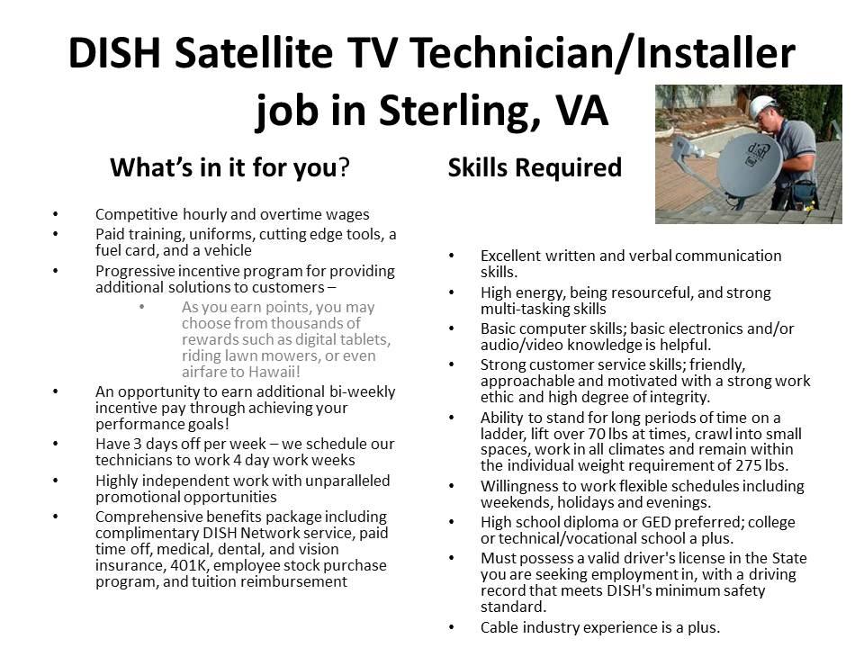 Mountain View Mirror DISH Satellite TV TechnicianInstaller job – Satellite Dish Technician
