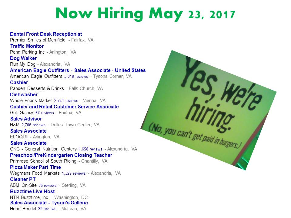 Now Hiring May 23, 2017