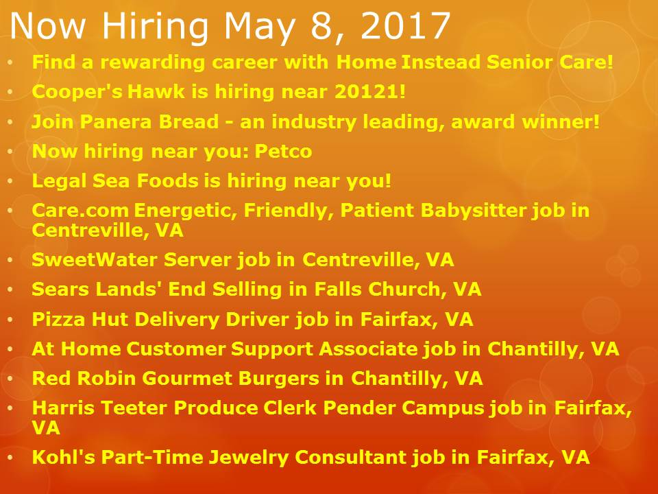 Now Hiring May  8th, 2017