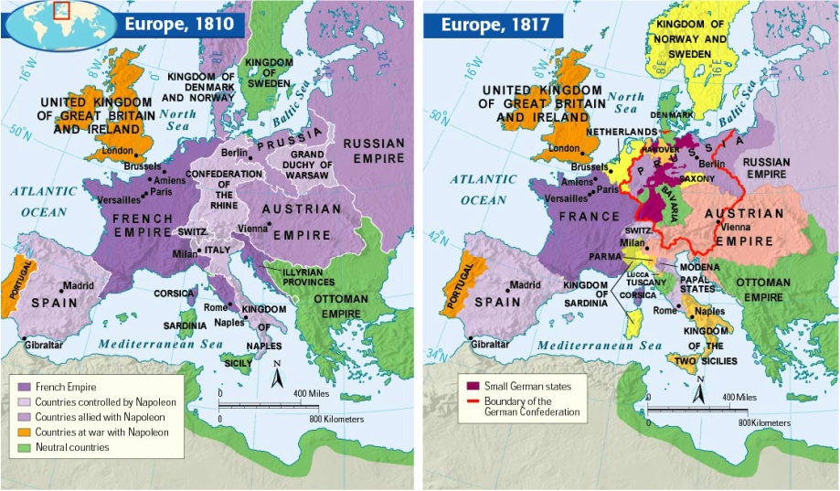 Image result for Napoleon's empire compared to Congress of Vienna boundaries