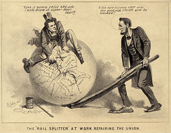 A political cartoon of Andrew Johnson and Abra...