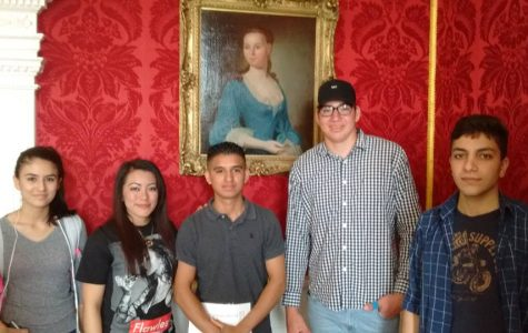 Students were impressed with the beautiful architecture as they stood for a pose in front of a portrait of Mrs. George Mason in the parlor room.