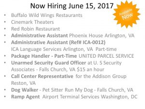 Now Hiring May 19, 2017