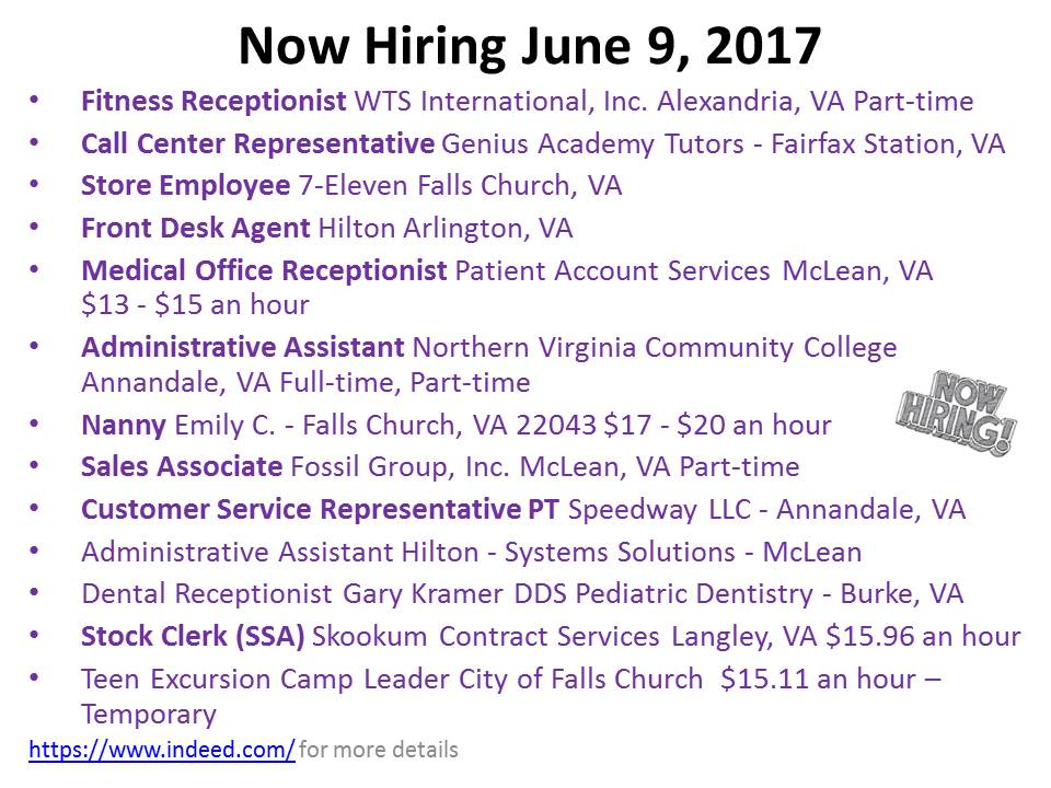 Now Hiring June 9, 2017
