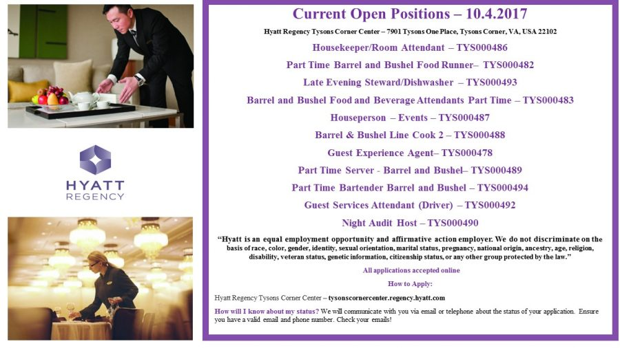 Tyson's Corner Hyatt is Hiring