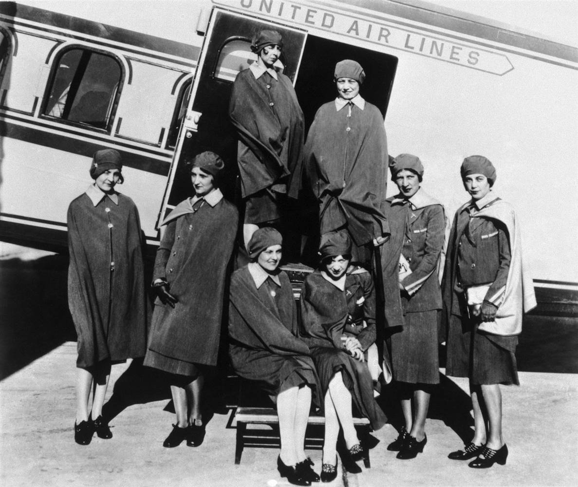 Original eight stewardesses with Model 80A. Courtesy the Boeing Company Archives