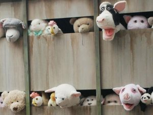 "An art installation named ""Sirens of the Lambs"" by the English artist Banksy confronting animal cruelty, shows how animals are crying for help while they are being transported to the slaughterhouse."